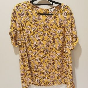 DR2 Yellow Floral Blouse 2X